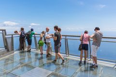 Tourists visiting  the cliffs of Gabo Girao at Madeira Island Royalty Free Stock Photo