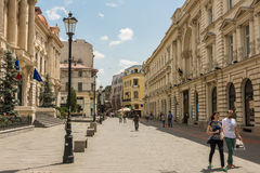 Tourists Visiting Downtown Bucharest Royalty Free Stock Images