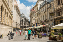 Tourists Visiting Downtown Bucharest Stock Photography