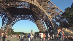 Tourists Visiting Eiffel Tower the Paris Tourism Symbol. Tourists Visiting Eiffel Tower the Paris City Tourism Symbol stock footage