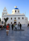 Tourists visiting Famous Church in Oia,Santorini Royalty Free Stock Photography