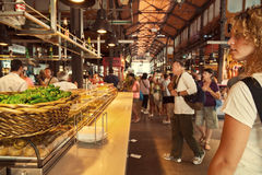 Tourists visiting the famous San Miguel Market, Madrid Stock Photos