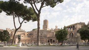 Tourists visiting the forum of the Emperor Trajan Royalty Free Stock Photo
