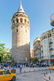 Tourists visiting the Galata Tower in Istanbul Stock Photo