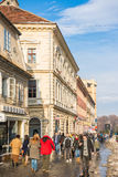 Tourists Visiting Historical Old Center royalty free stock image