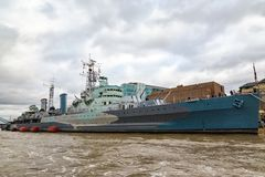 Tourists visiting HMS Belfast, museum ship in London royalty free stock image
