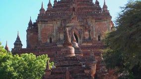 Tourists Visiting Htilominlo Temple, Bagan, Myanmar - 18 November 2017 stock footage