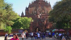 Tourists Visiting Htilominlo Temple, Bagan, Myanmar - 18 November 2017 stock video footage