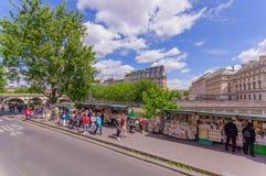 Tourists visiting Ile de la Cite island in Paris Stock Image