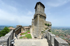 Tourists visiting La Rocca fortless on Borgo Maggiore, San Marin Royalty Free Stock Photos