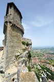 Tourists visiting La Rocca fortless on Borgo Maggiore, San Marin Royalty Free Stock Photography