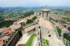 Tourists visiting La Rocca fortless on Borgo Maggiore, San Marin Royalty Free Stock Photo