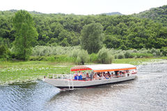 Tourists visiting lake Skadar national park on a boat Royalty Free Stock Photography