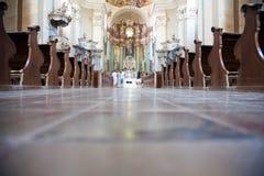 Tourists visiting Maria Radna Monastery royalty free stock photo