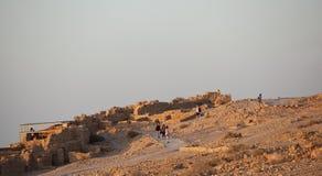 Tourists visiting Masada Fortress in Israel Royalty Free Stock Photos