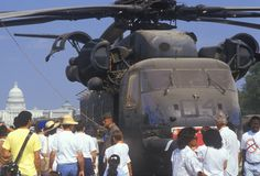 Tourists Visiting Military Helicopter on Display, Washington, D.C. Stock Photography