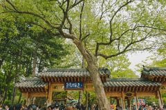 The traditional gate of Nami island in South Korea. stock images