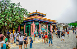 Tourists are visiting Ngong Ping Village, it is one of the most popular tourist attractions in Hong Kong stock photos