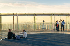 Tourists visiting the observation deck on the roof of the Montpa Stock Image
