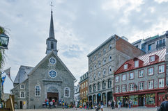 Tourists visiting old church in Quebec city Canada Stock Photo