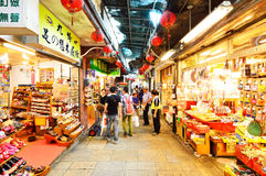 Tourists visiting the old Jishan Street in Jiufen Royalty Free Stock Photos