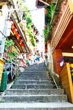 Tourists visiting the old Jishan Street in Jiufen Stock Photography