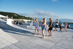 Tourists visiting Oslo opera house, Norway Royalty Free Stock Photo