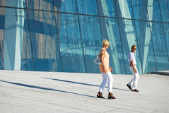 Tourists Visiting Oslo Opera House, Norway Stock Images