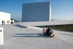 Tourists visiting Oslo opera house, Norway Royalty Free Stock Photos