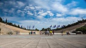 Tourists visiting Panathenaic stadium in Athens. During summer, Athens, Greece stock video footage