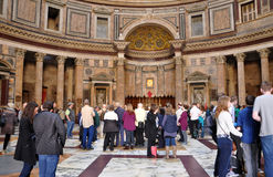 Tourists visiting the Pantheon in Rome, Italy Stock Photography