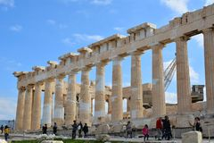 Tourists visiting Parthenon in Acropolis Stock Images