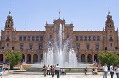 Tourists visiting Plaza de Espana, Seville, Spain Royalty Free Stock Image