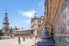 Tourists visiting Plaza de Espana, Seville, Spain. Spain, Sevilla Province, region Andalusia, Seville: just outside the old historic center of Seville, the plaza Royalty Free Stock Photo