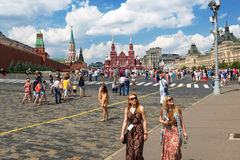 Tourists visiting the Red Square on july 13, 2013 in Moscow, Rus Royalty Free Stock Photo