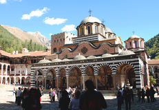 Tourists visiting the Rila Monastery, Bulgaria.  Stock Photography
