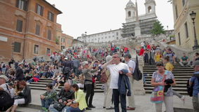 Tourists visiting Rome, Italy stock video footage