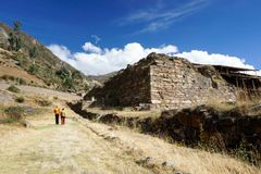 Chavin de Huantar, Ancash / Peru: 12 June, 2016: tourists visiting the ruins of the pre-Incan Chavin civilization in the Peruvian. Tourists visiting the ruins of royalty free stock photography
