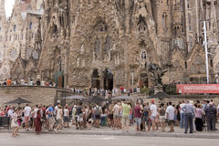 Tourists visiting the Sagrada Familia. Barcelona,Spain-September 9,2014 :Tourists visiting the Sagrada Familia (Basilica and Expiatory Church of the Holy Family stock image