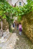 Tourists visiting Saint-Cirq-Lapopie in France Stock Photography