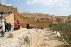 Tourists visiting Saint Sabba Monastery near Jerusalem, Israel Royalty Free Stock Photo