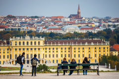 Tourists visiting Schonbrunn Palace in Vienna Royalty Free Stock Photos