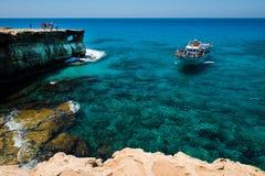 Tourists visiting the sea caves of Ayia Napa, Cyprus Royalty Free Stock Photos