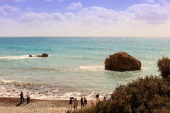 Tourists visiting seaside in Cyprus. Stock Image