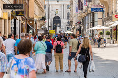 Tourists Visiting And Shopping Famous Brand Stores In Downtown Vienna Stock Photo