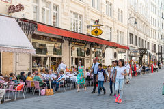 Tourists Visiting And Shopping Famous Brand Stores In Downtown Vienna Stock Photos