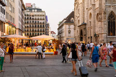 Tourists Visiting And Shopping On Graben Street In The Night Royalty Free Stock Images