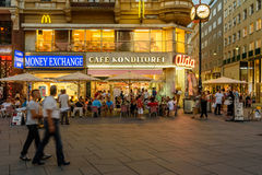Tourists Visiting And Shopping On Graben Street In The Night Royalty Free Stock Photography