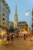 Tourists Visiting And Shopping On Graben Street In The Night Royalty Free Stock Image
