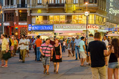 Tourists Visiting And Shopping On Graben Street In The Night Royalty Free Stock Photos